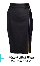 Wetlook High Waist Pencil Skirt