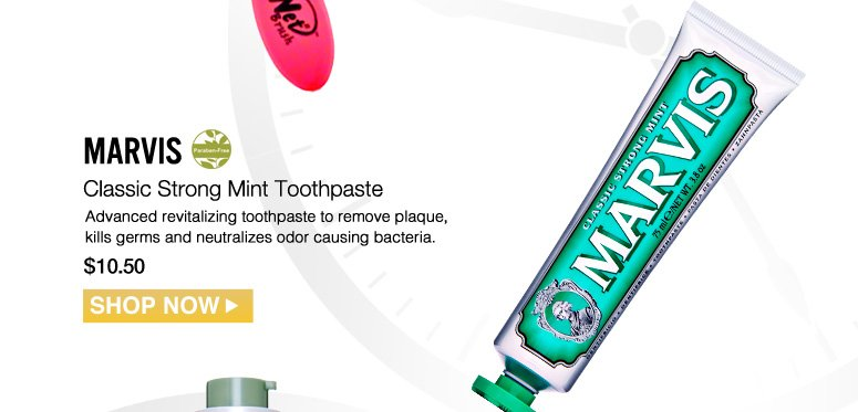 Paraben-free Marvis Classic Strong Mint Toothpaste  Advanced revitalizing toothpaste to remove plaque, kills germs and neutralizes odor causing bacteria. $10.50 Shop Now>>