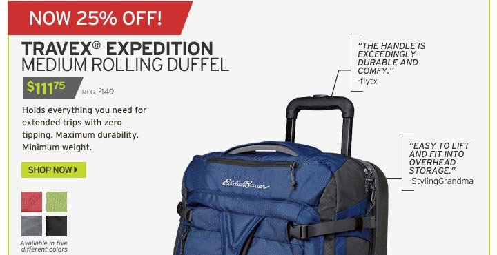 Eddie Bauer  25% Off The Carry On You Can t Tip Over   Milled 01f4c82db7