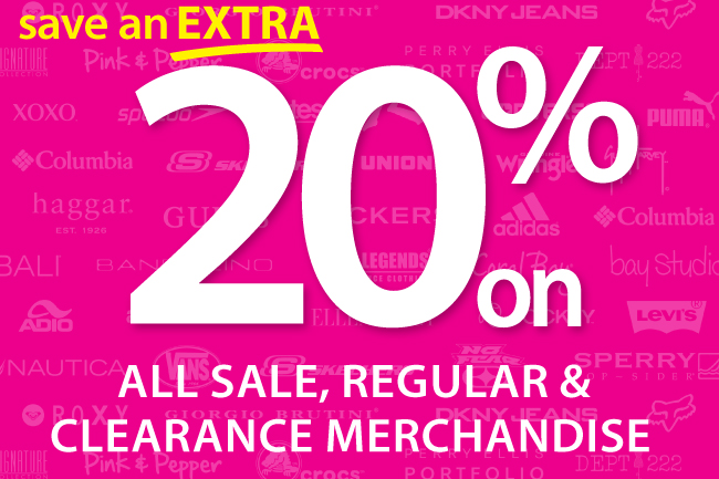 Save an extra 20% on everything!