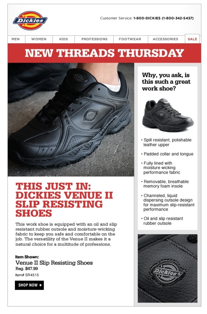 New Threads Thursday: This work shoe is equipped with a slip resistant rubber outsole and moisture-wicking fabric to keep you safe and comfortable on the job. The versatility of the Venue II makes it a natural choice for a multitude of professions.