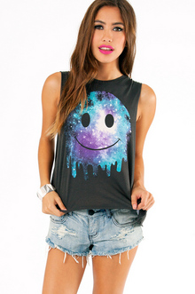 GALAXY DRIPPING SMILEY FACE MUSCLE TOP 19