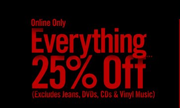 ONLINE ONLY - EVERYTHING 25% OFF***