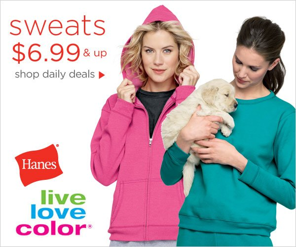 Live in Colorful Sweats $6.99 & up daily deals
