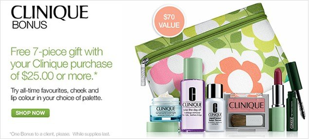 Clinque Bonus. Free 7-piece gift with your Clinique purchase of $25.00 or more. Shop now.