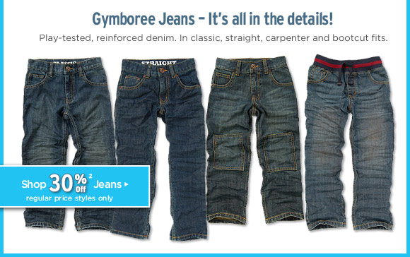 Gymboree Jeans - It's all in the details! Play-tested, reinforced denim. In classic, straight, carpenter and bootcut fits. Shop 30% Off Jeans(2). Regular price styles only.