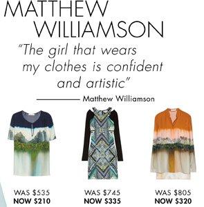 MATTHEW WILLIAMSON UP TO 60% OFF