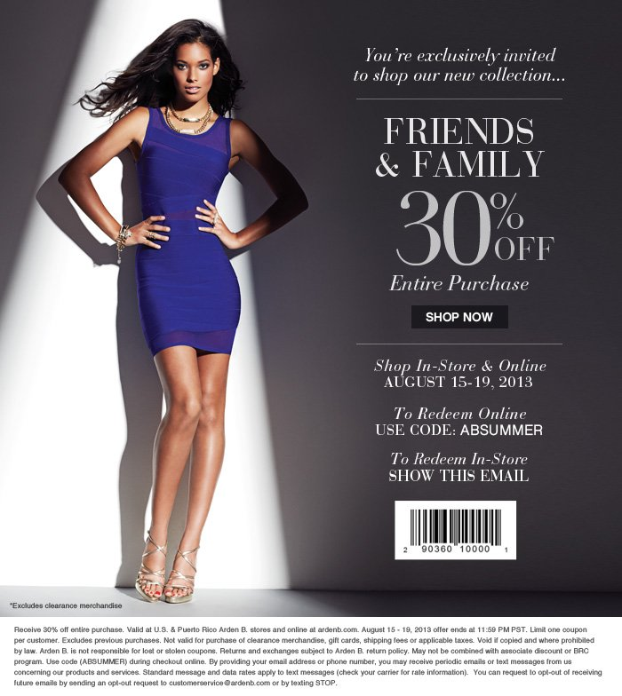 Friends & Family 30% off entire purchase