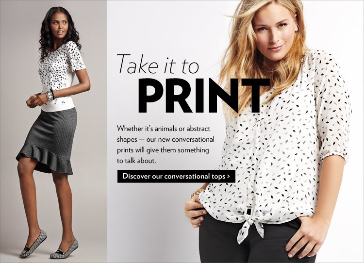 Take it to print. Whether it's animals or abstract shapes - our new conversational prints will give them something to talk about.