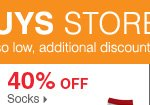 175+ Bonus Buys throughout the store! 40% off socks