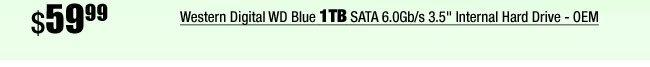 """Western Digital WD Blue 1TB SATA 6.0Gb/s 3.5"""" Internal Hard Drive - OEM"""