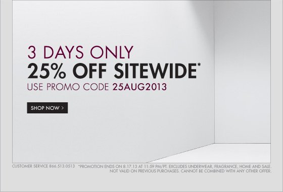 3 DAYS ONLY 25% OFF SITEWIDE!