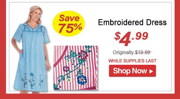 Embroidered Dress - Save 75% - Now Only $4.99 Limited Time Offer