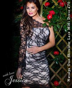 Jessica Wright Natalya One Shoulder Lace Midi Dress