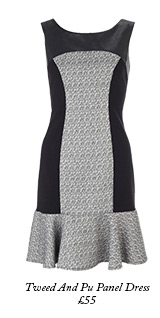 Tweed And Pu Panel Dress