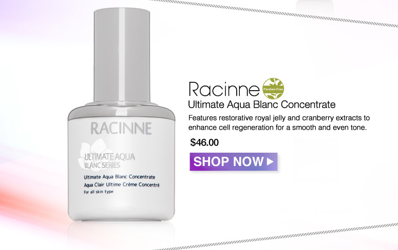 Paraben-free Racinne Ultimate Aqua Blanc Concentrate Features restorative royal jelly and cranberry extracts to enhance cell regeneration for a smooth and even tone. $46.00 Shop Now>>