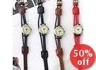 Braided Genuine-Leather Strap Watch