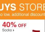 175+ Bonus Buys throughout the store! 40% off socks