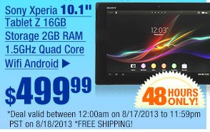 """$499.99 -- Sony Xperia 10.1"""" Tablet Z 16GB Storage 2GB RAM  1.5GHz Quad Core Wifi Android. FREE Sony Over-the-Ear Headset w/ Purchase!"""