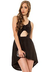BOTB by Hellz Bellz Outsiders Peek-A-Boo Cut Out Dress in Black