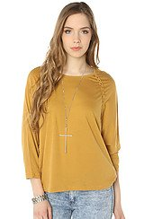 Obey Bristol Braided Seam Raglan Dolman in Amber Gold
