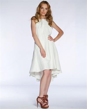 Lora Gene Solid Color Draped Back & Dipped Hem Dress Made In Europe