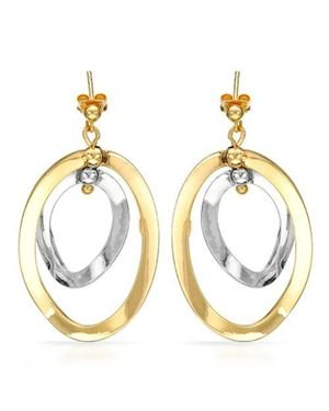 Made In Italy Ladies Earrings Made Of 14K Two Tone Gold