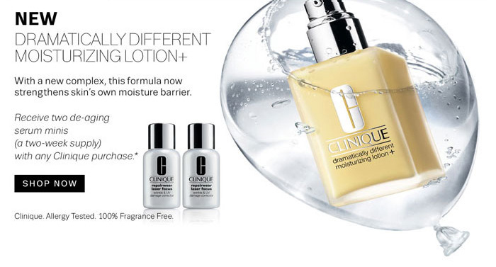 New. Dramatically Different Moisturizing Lotion+. Receive two de-aging serum minis with any Clinique purchase*. Shop Now.