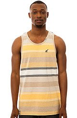 The Resolutionary Camp Striped Tank Top in Natural Heather