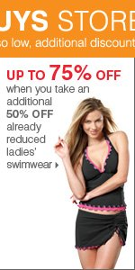 175+ Bonus Buys throughout the store! Up to 75% off when you take an additional 50% off already reduced ladies' swimwear. Shop now.