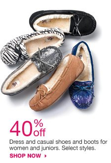 40% off Dress and casual shoes and boots for women and juniors. Select styles. shop now