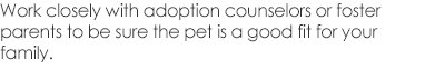 Work closely with adoption counselors or foster parents to be sure the pet is a good fit for your family.