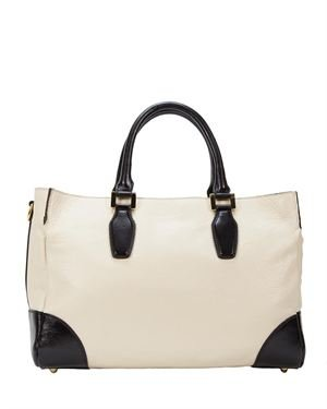 H&S Genuine Leather Two-Tone Tote Made In Italy