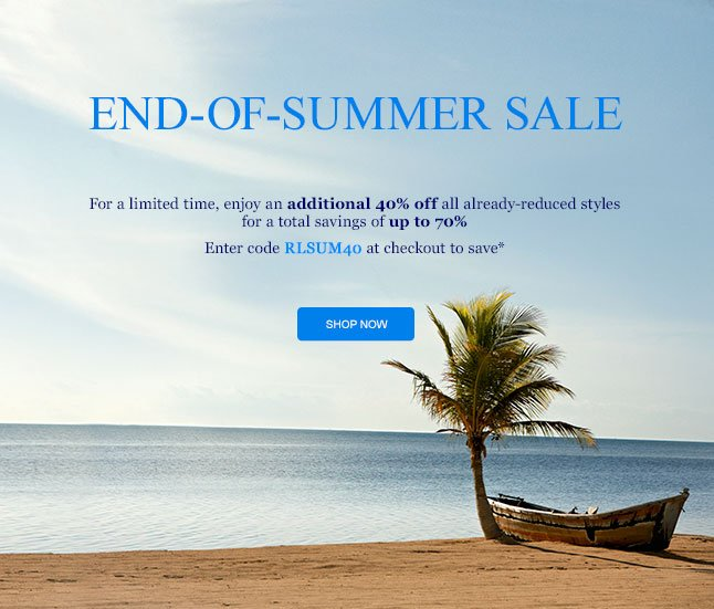 Final Days: Up To 70% Off During The End-Of-Summer Sale