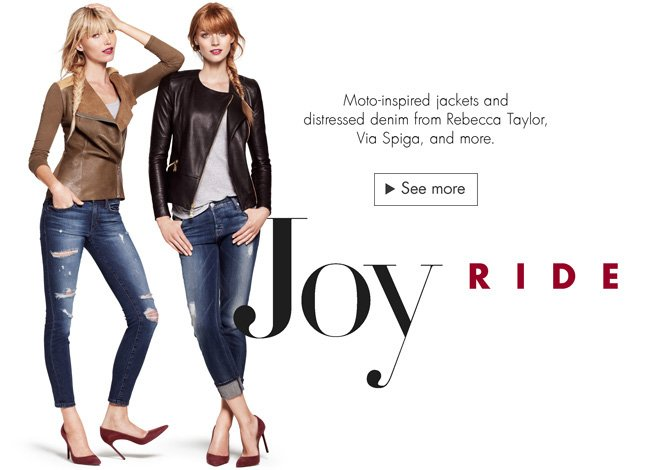 Check out moto-inspired jackets and distressed denim for fall--including picks from Rebecca Taylor, Via Spiga, and more.