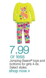 $7.99 or less Jumping Beans tops and bottoms for girls 4-6x. Select styles. orig. $16. Shop now