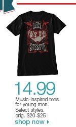 $14.99 Music-inspired tees for young men. Select styles. orig. $20-$25. Shop now