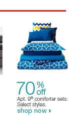 70% off Apt. 9 comforter sets. Select styles. Shop now