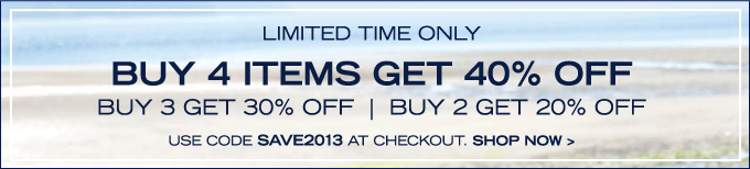 Buy 4 items get 40% off! Enter SAVE2013 at checkout.