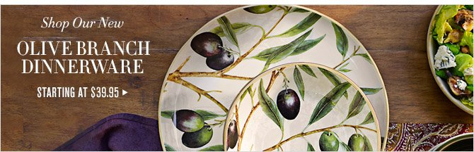 Shop Our New -- OLIVE BRANCH DINNERWARE -- STARTING AT $39.95