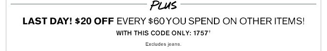 Receive $20 Off Every $60