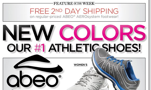 New Feature of the Week! Shop the NEW ABEO AEROsystem colors, our #1 Athletic Shoes featuring innovative air-infused comfort and enjoy FREE 2nd Day Shipping (on any regular-priced styles)!* Shop now for the best selection at The Walking Company.