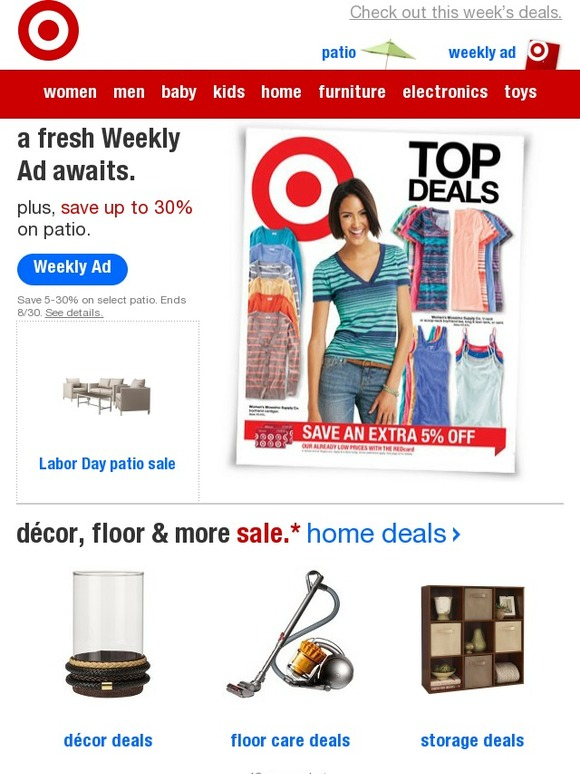 True to form, retailers, including Target, are holding Labor Day weekend sales in observation of the holiday, allowing shoppers to snag a few last-minute summer finds for a fraction of the price. The big-box retailer has already launched online-only Labor Day sales for its homewares ahead of the four-day .