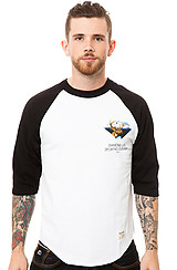 The Sporting Goods 3/4 Sleeve Raglan in Black and White