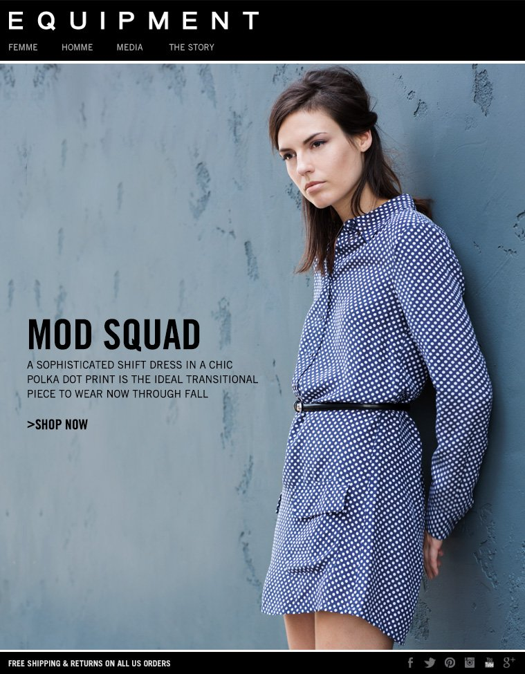MOD SQUAD A SOPHISTICATED SHIFT DRESS IN A CHIC POLKA DOT PRINT IS THE IDEAL TRANSITIONAL PIECE TO WEAR NOW THROUGH FALL >SHOP NOW