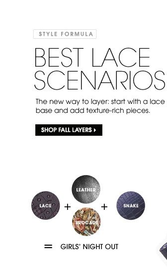 STYLE FORMULA. BEST LACE SCENATIOS. SHOP FALL LAYERS