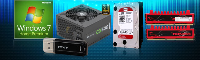 Win7, PSU, Flash, HDD, Memory