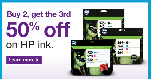 Buy 2, get the third 50% off on  HP ink. Learn more.