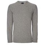 Grey Ribbed Yoke Sweater