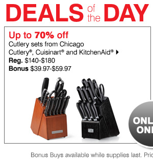 Up to 70% off Cutlery sets from Chicago Cutlery® and KitchenAid®